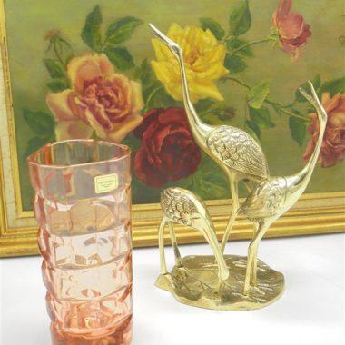 figurine laiton 3 herons ou flamand rose
