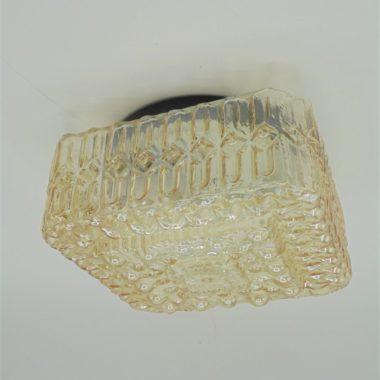 plafonnier ou applique vintage carre en verre couleur or ou orange irise
