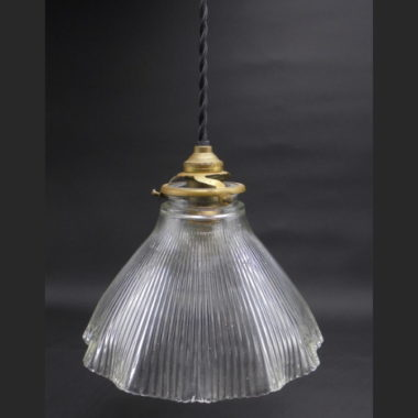 suspension verre vintage style holophane ancienne