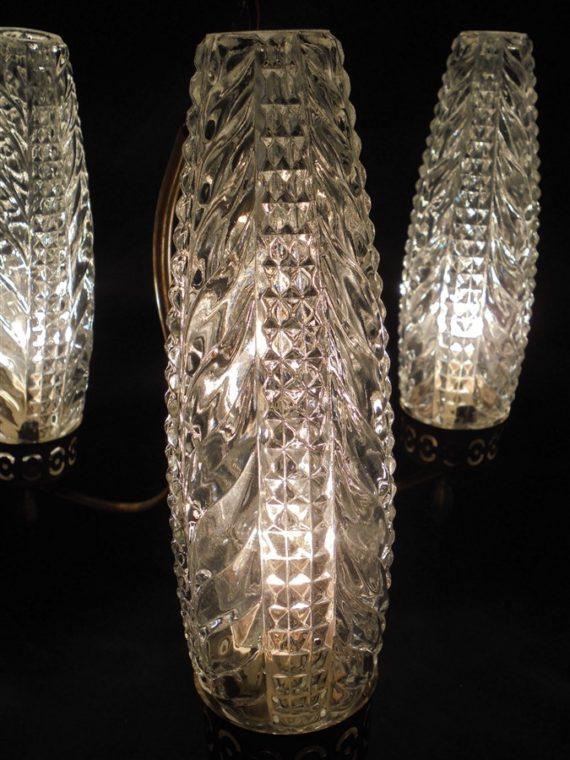 lustre vintage 3 branches annees 60 70 retro verre et laiton