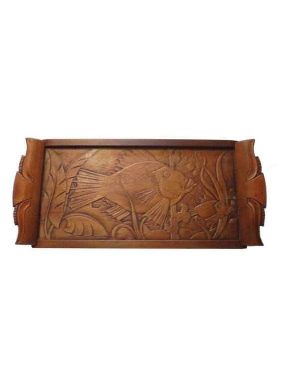 ancien plateau bois sculpte decor poisson sous verre
