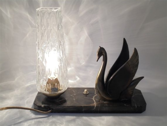 ancienne lampe de table socle en marbre cygne regule style art deco