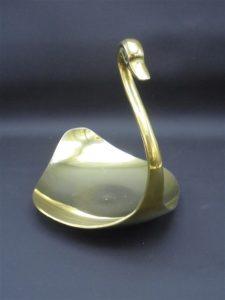 cygne en laiton coupelle vide poche dore