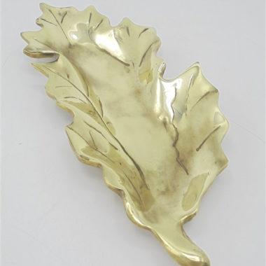 vide poche en laiton coupelle en forme de feuille de houx ou de chene