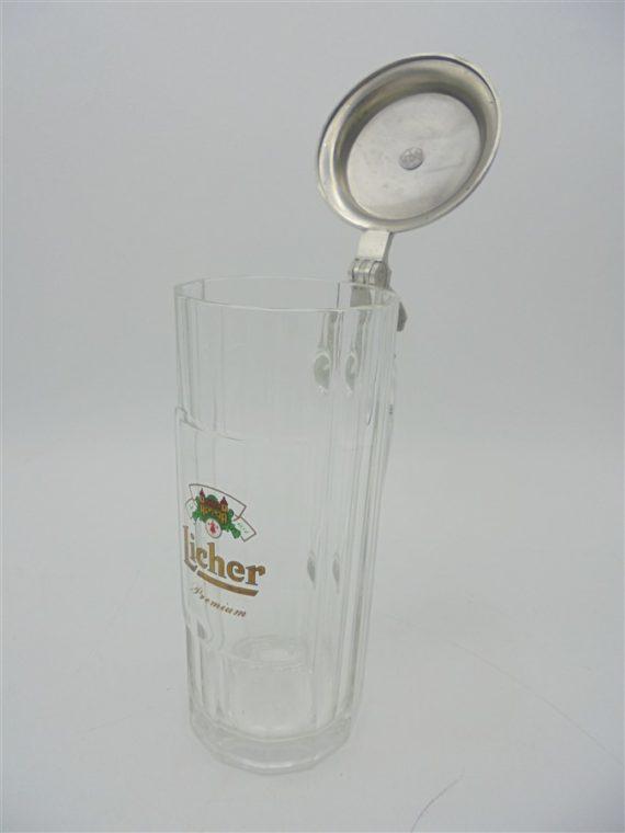 chope de biere avec couvercle en alu licher premium