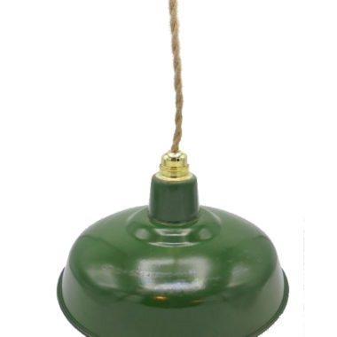 ancienne suspension industrielle tole emaillee verte gamelle cloche cable chanvre vintage