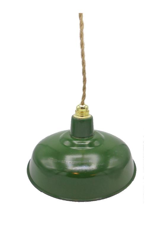 ancienne suspension industrielle tole emaillee verte gamelle cloche cable chanvre vintage