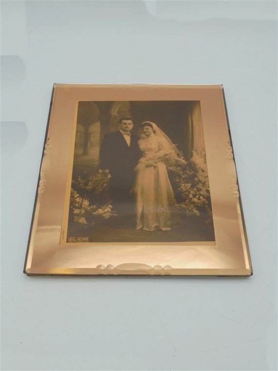 ancien cadre photo miroir rose mariage couple
