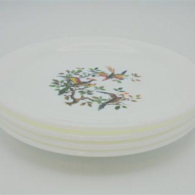 petites assiettes dessert arcopal france decor oiseaux