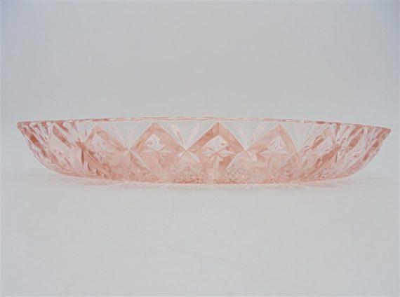ancien plat de service compartimente verre rose