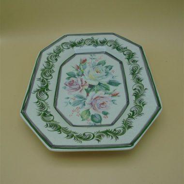 plat de service ou decoratif mural decor de roses forme octogonale