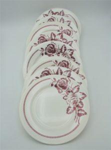 anciennes assiettes decor roses bordeaux atlantic digoin sarreguemines