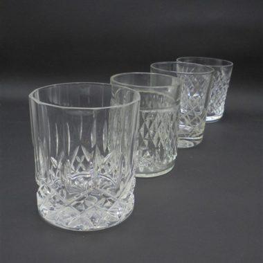 lot de 4 verres a whisky vintage verre et cristal depareilles