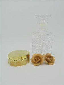 ancienne boite laiton dore bijoux carafe a whisky cristal