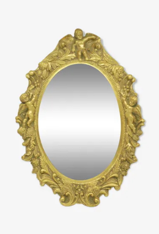 miroir ovale dore classique anges cherubins angelots