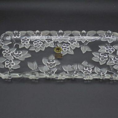 plat de service allonge oblong cake cristal W.Germany decor floral fleurs