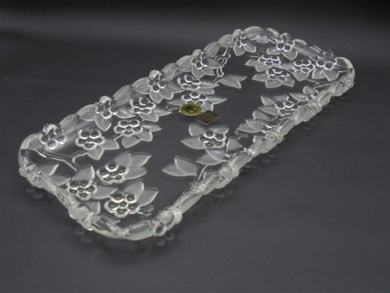 plat de service allonge oblong cake cristal W.Germany decor floral fleurs