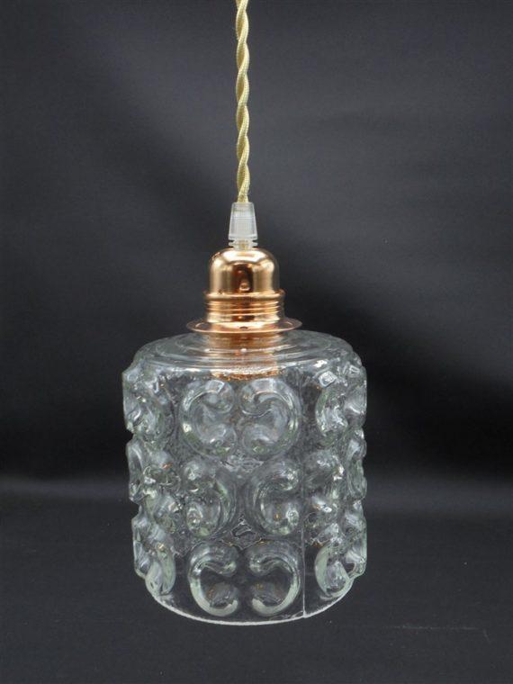 suspension vintage globe verre transparent cylindrique motifs en relief