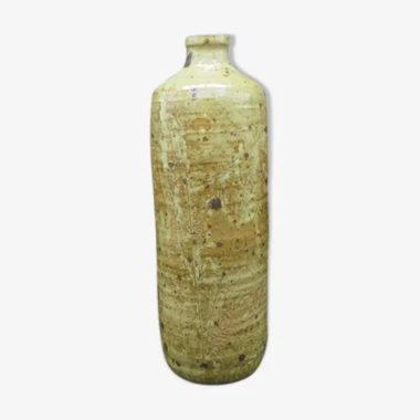 vase bouteille soliflore en gres flacon decor grave fougeres
