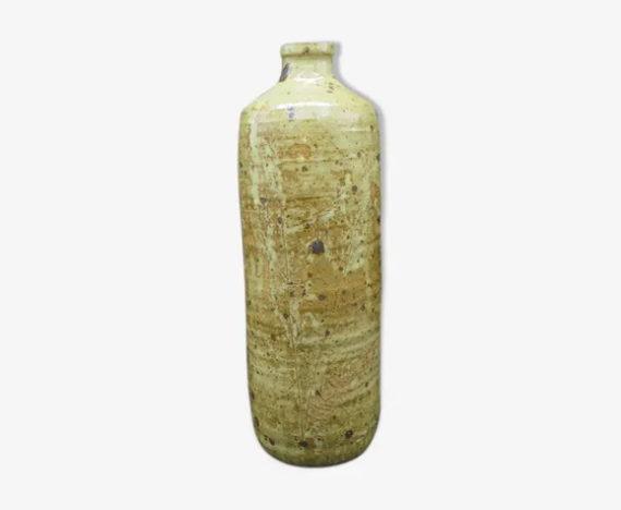vase bouteille soliflore en gres flacon decor grave fougeres idee cadeau