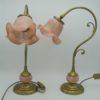 lampe laiton tulipe rose floral kaelle