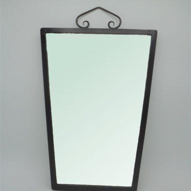 miroir trapeze contour metal noir