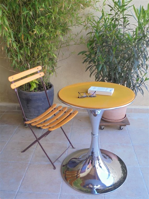 table pied tulipe chrome gastone rinaldi orange