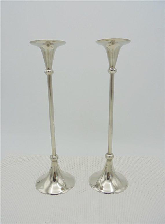 paire chandeliers metal couleur argent