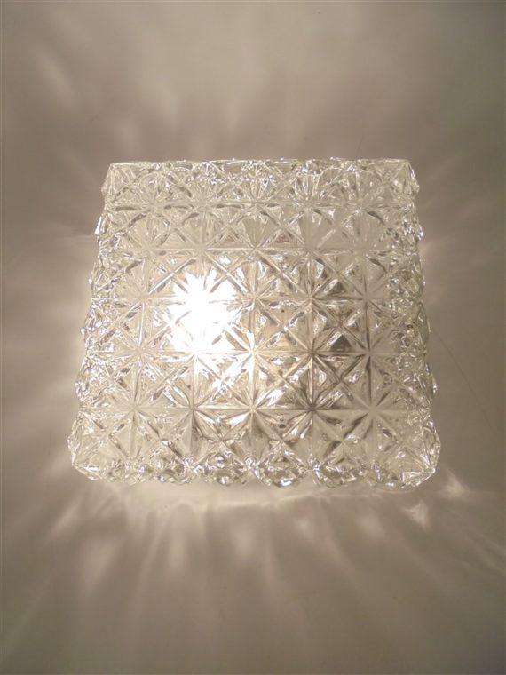 plafonnier vintage carre verre transparent luminaire brocante