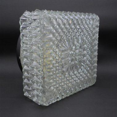 plafonnier vintage carre verre transparent luminaire ancien
