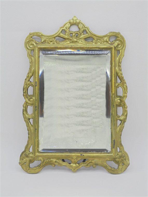 ancien miroir biseaute contour dore laiton
