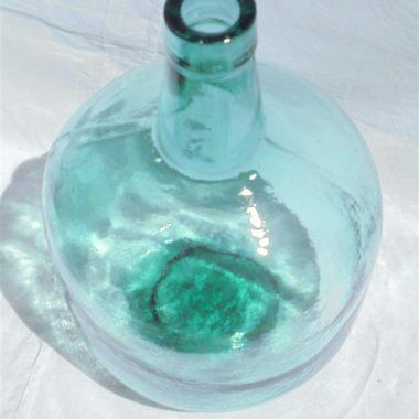 ancienne bonbonne dame jeanne verre vert turquoise
