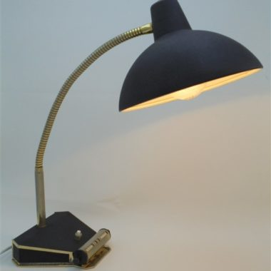ancienne lampe de bureau aluminor calendrier integre noir granite annees 50 revetement graine