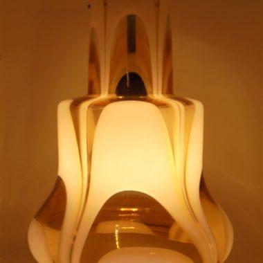 suspension lampe vintage verre jaune et blanc