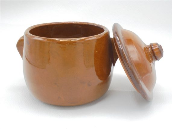 ancien pot a sucre oreilles ceramique gres