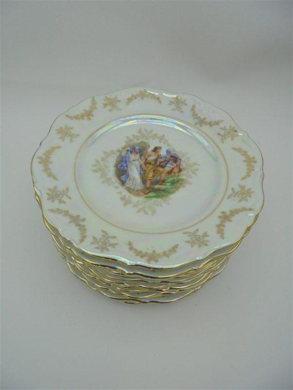 anciennes assiettes a dessert porcelaine de luxe brocante