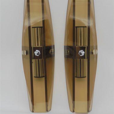 appliques vintage verre fume italienne designer Veca Fontana Arte space age post modern luxe
