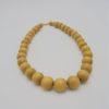 collier vintage perles bois clair