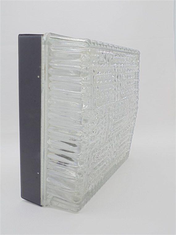 plafonnier ou applique murale vintage carre verre epais