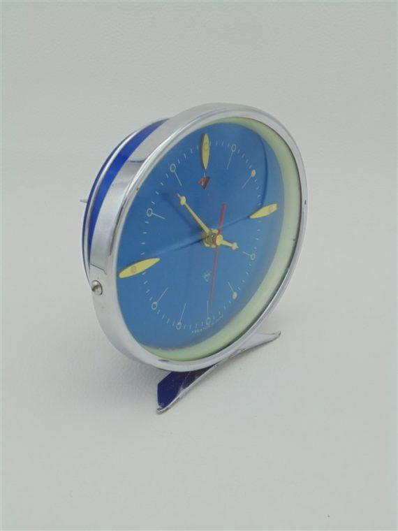 reveil vintage diamond made in china metal bleu turquoise et chrome brocante idee cadeau