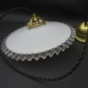 ancienne suspension opaline blanche bordure ondulee transparente luminaire lampe selection brocante
