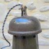 ancienne_suspension tole emaillee noire grise atelier industrielle forme cloche