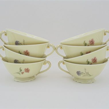 tasses cafe the porcelaine decor floral ancienne fabrique royale limoges france