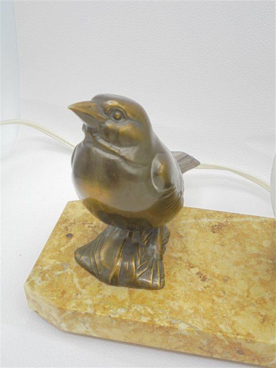 lampe vintage socle en marbre decor 2 oiseaux globe verre effet craquele
