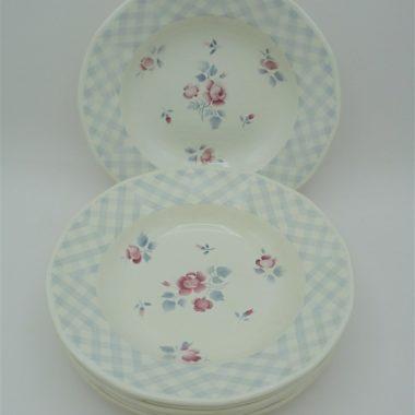 anciennes assiettes creuses a soupe digoin sarreguemines modele bastia decor floral rose bleu ciel