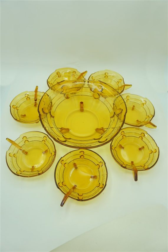 service creme mousse punch ou salade de fruits vintage germanique verre ambre art deco allemand deutschland