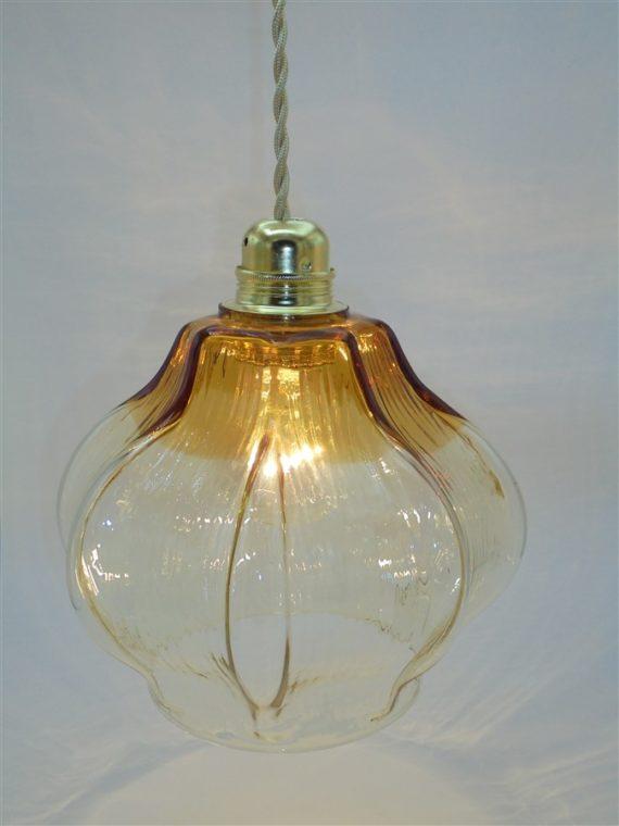 suspension vintage verre transparent orange ambre