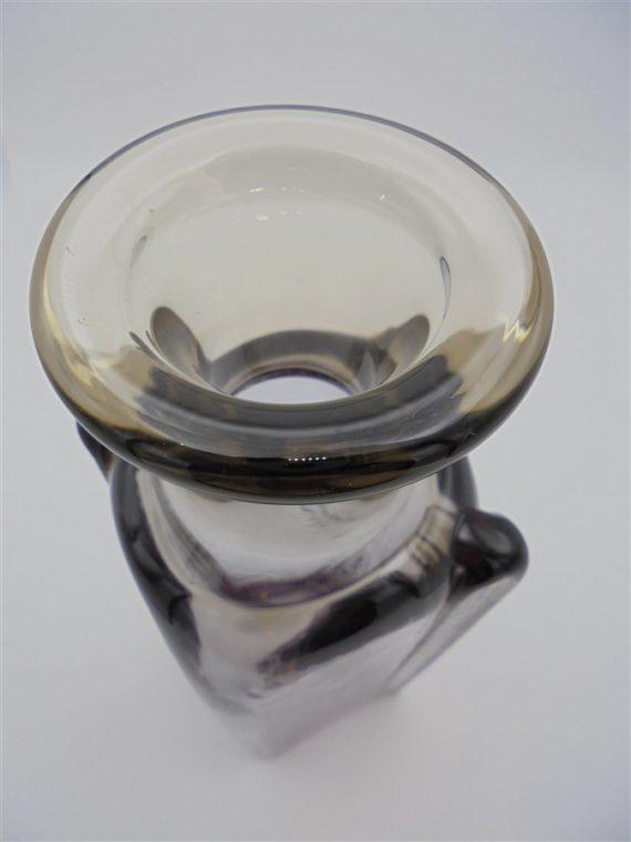 flacon vase verre ou cristal violet et brun fume