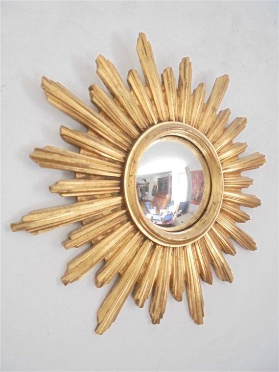 miroir soleil glace bombee cadre resine dore sorciere