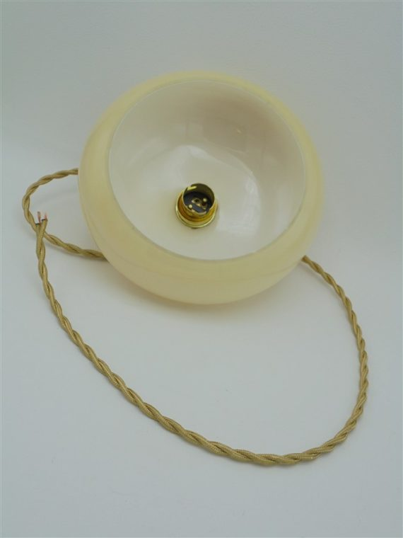 suspension vintage art deco globe verre creme beige
